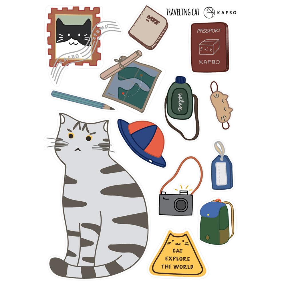 CUBE TRAVELING CAT Sticker